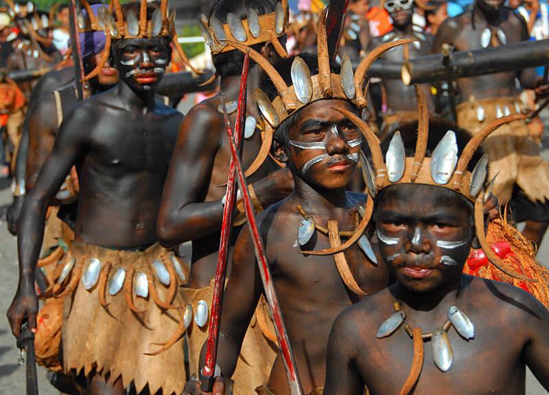 Ati-Atihan celebrants in costume