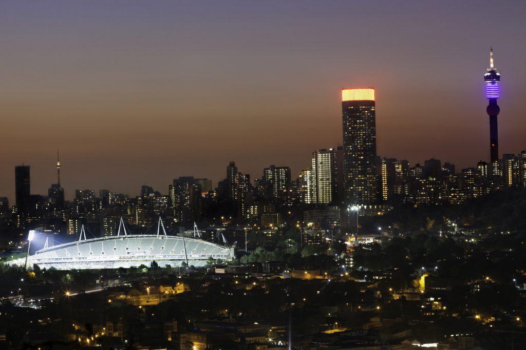 Ellis Park Stadium illuminates the night skyline of Johannesburg. Photo: iStock.