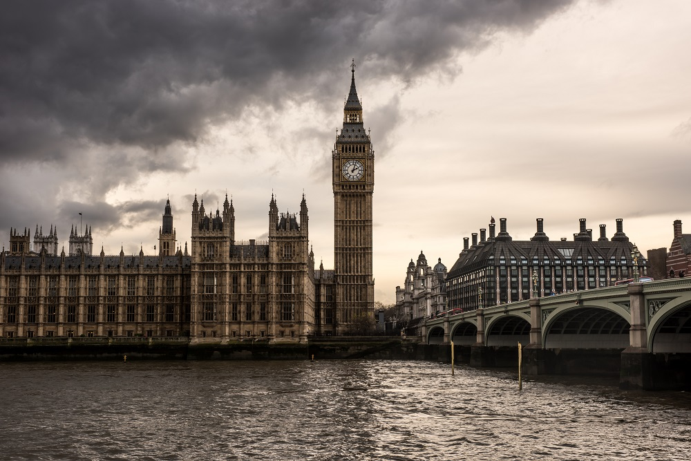 Westminster Bridge leading toward the London skyline with Big Ben and House of Parliament
