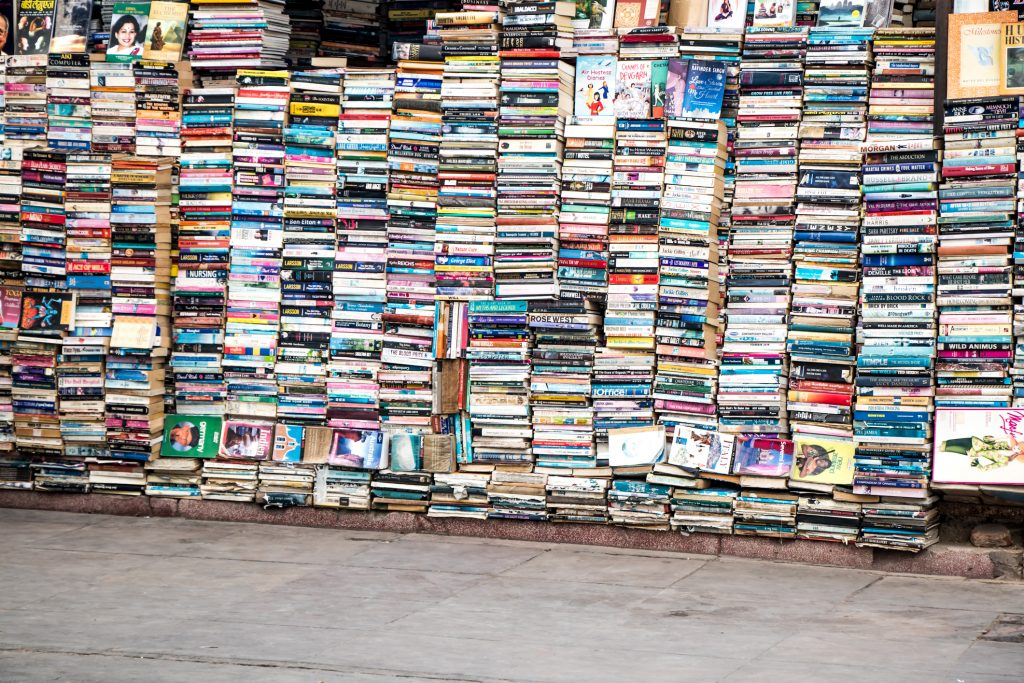 Stacks of books at world's largest secondhand book market.