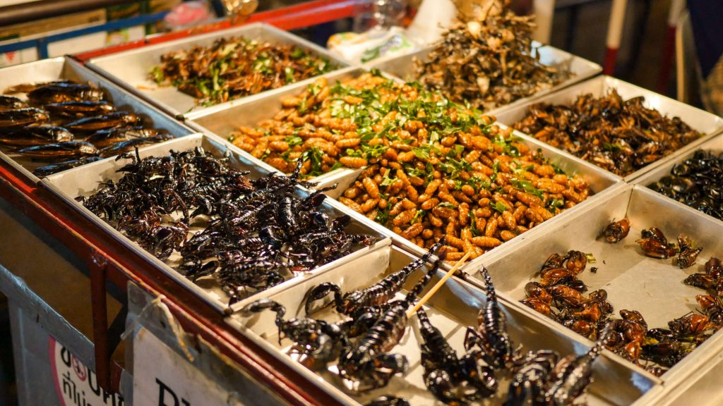 Crickets, scorpions, and grasshoppers are fried and ready to eat at a Thai street market.