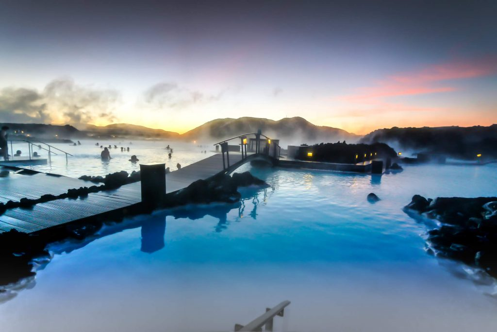 sunset over the Blue Lagoon