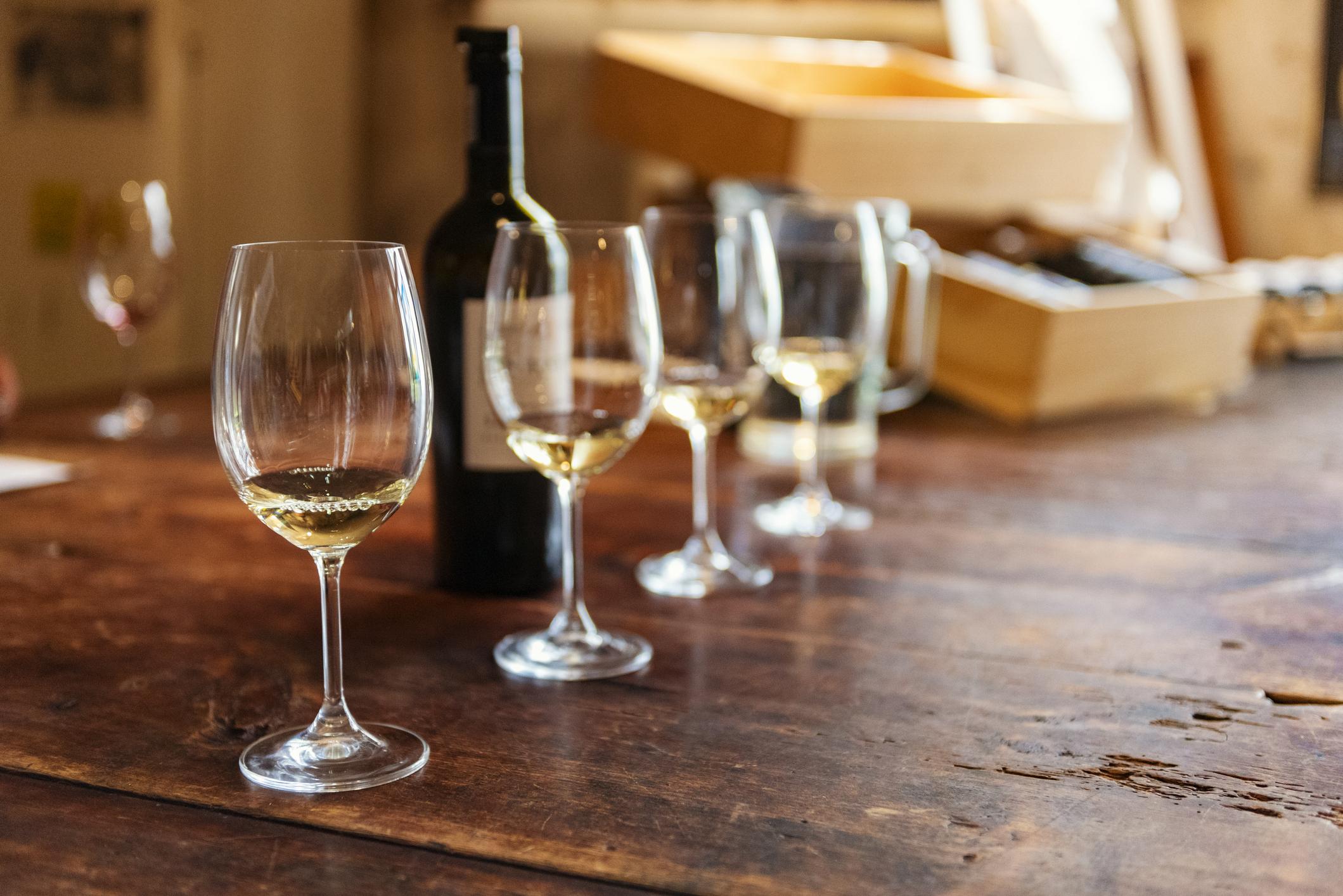 Row of Transylvania white wines