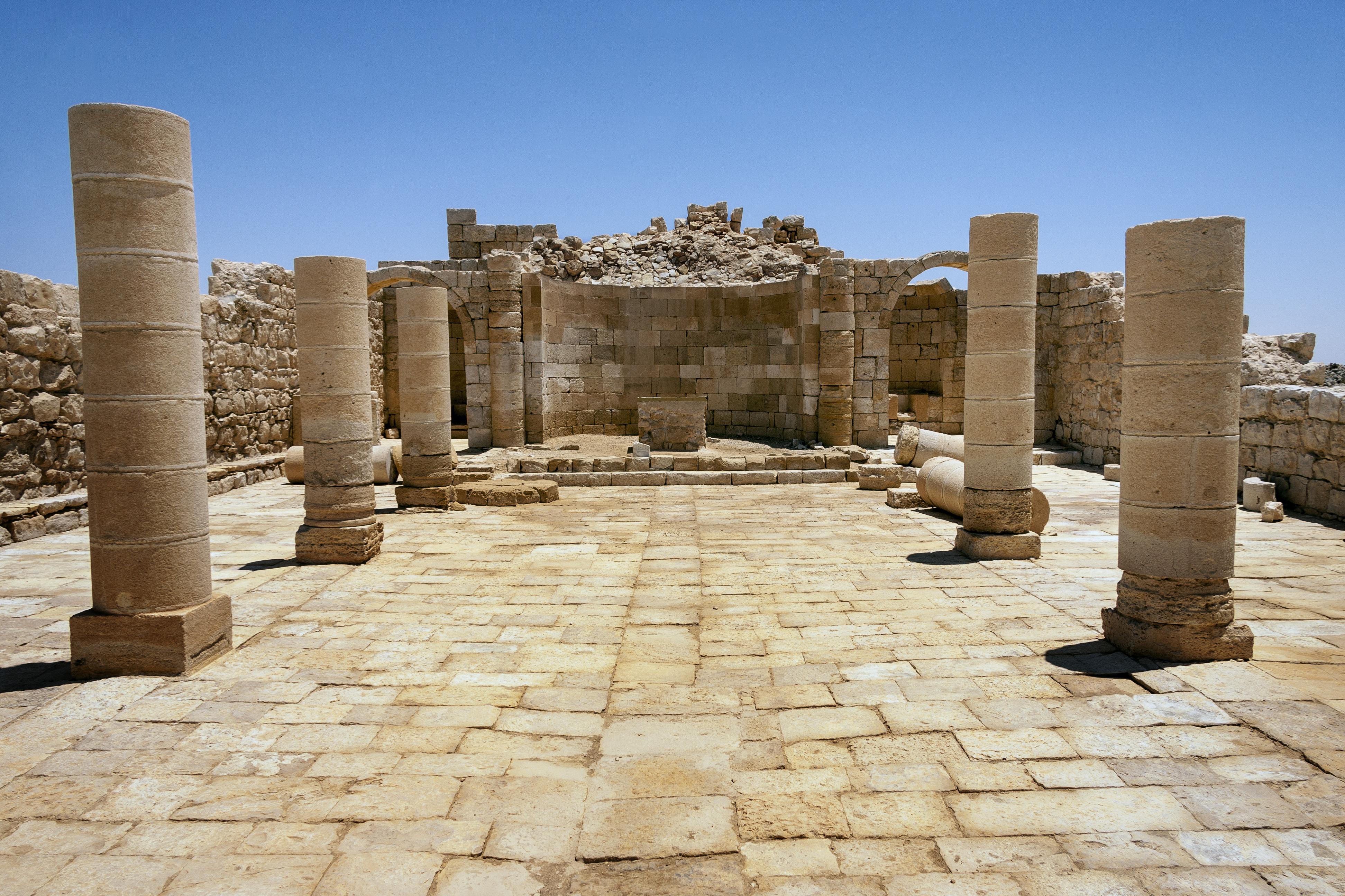 columns and chapel at avdat ruins