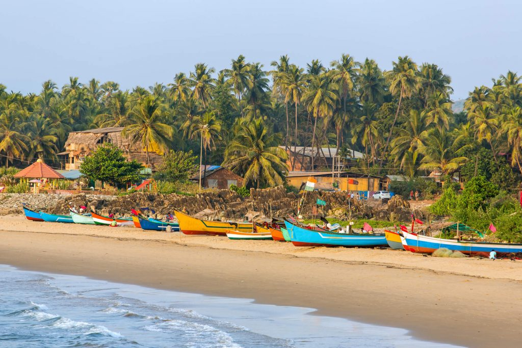 Fishing boats on the beaches of Gokarna, India.