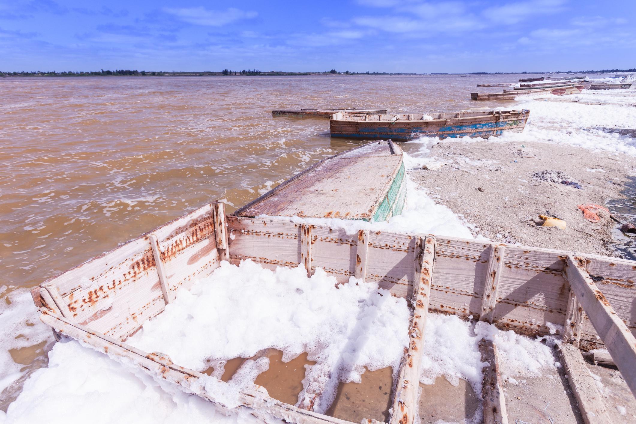 Salt piles at Lake Retba