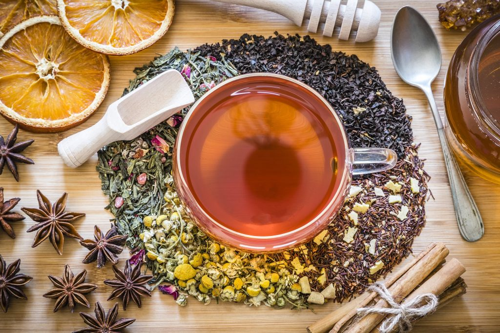 traditional arabic tea includes chamomile, anise, sage, and more.