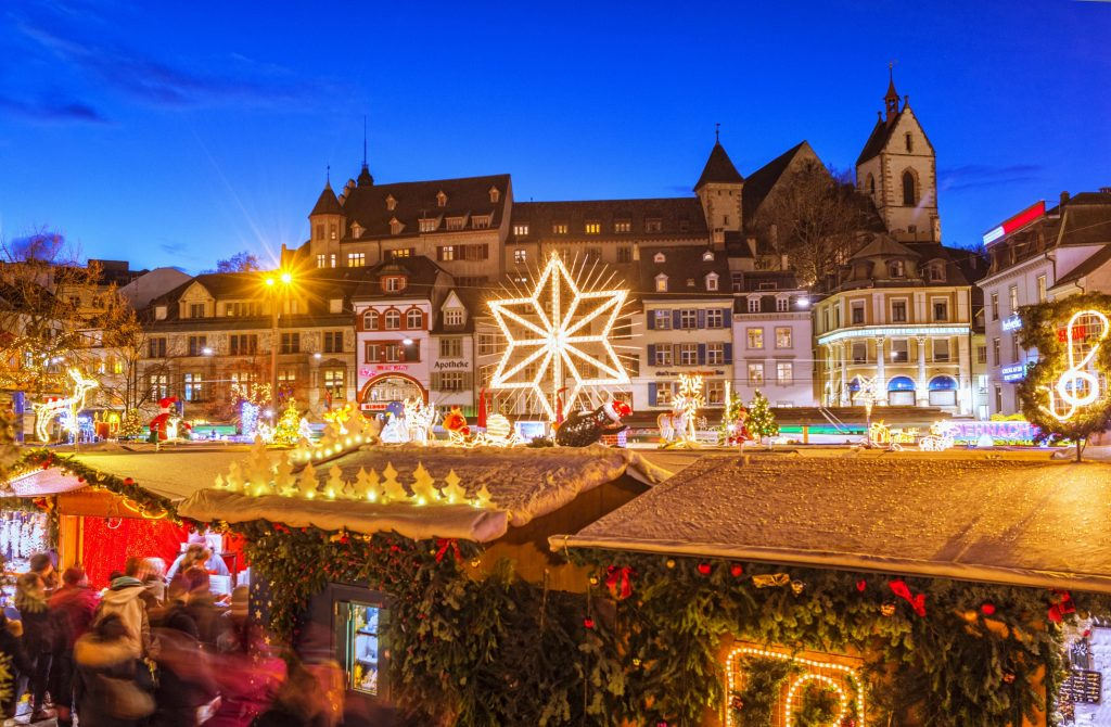 Basel Christmas market along the Rhine