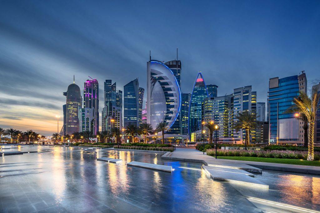 Cityscape in Qatar along Doha bay