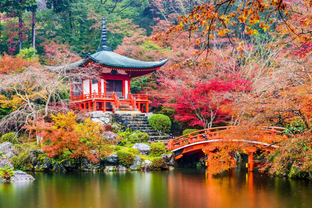 Shrine in Japan surrounded by autumn trees