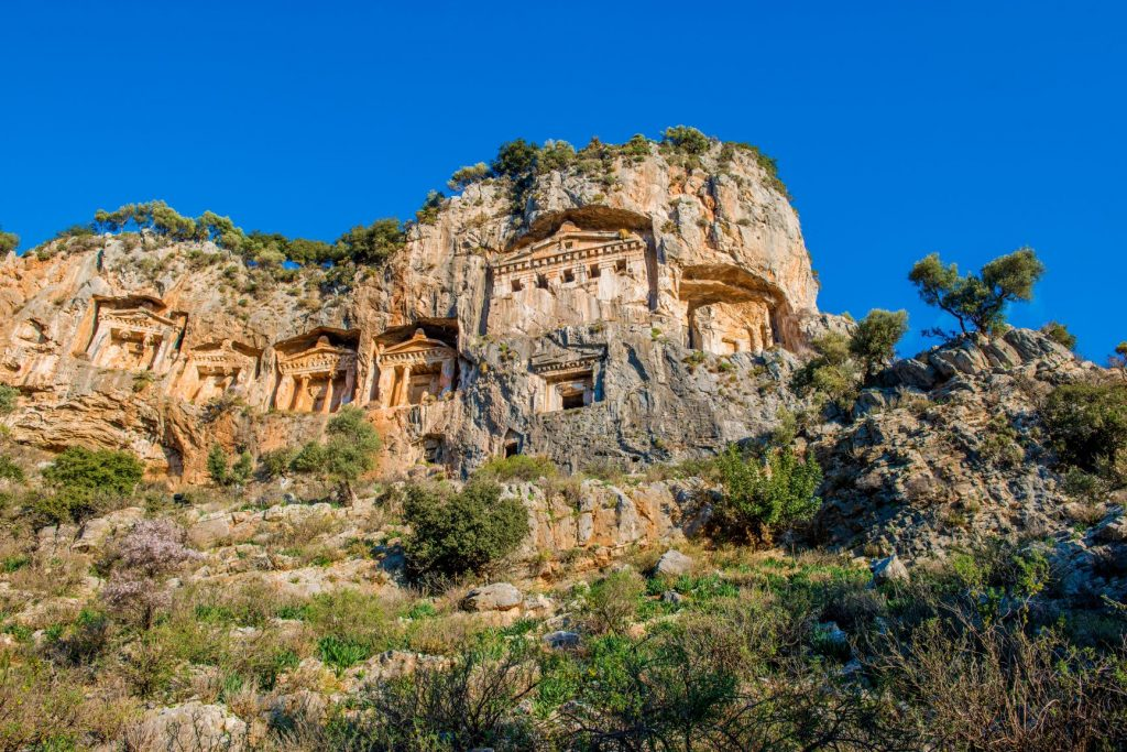 Ancient cliffside Kuanos Anatolia Dalyan Turkey