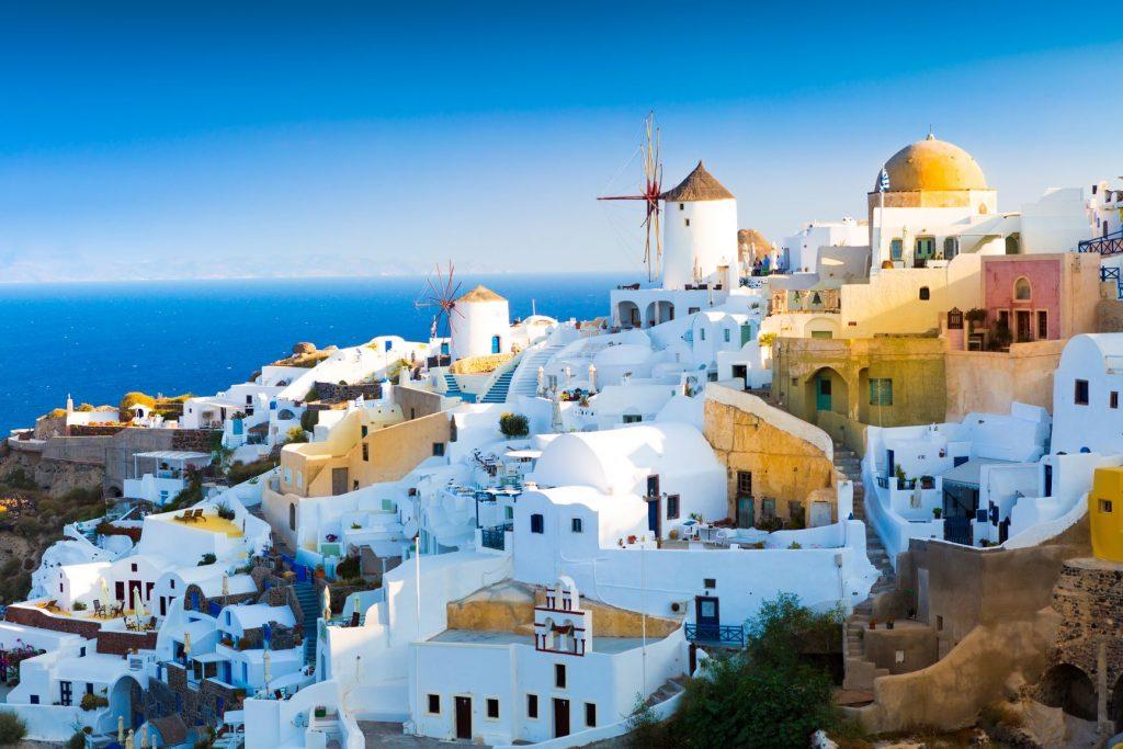 View of Oia, village of Santorini island in Greece