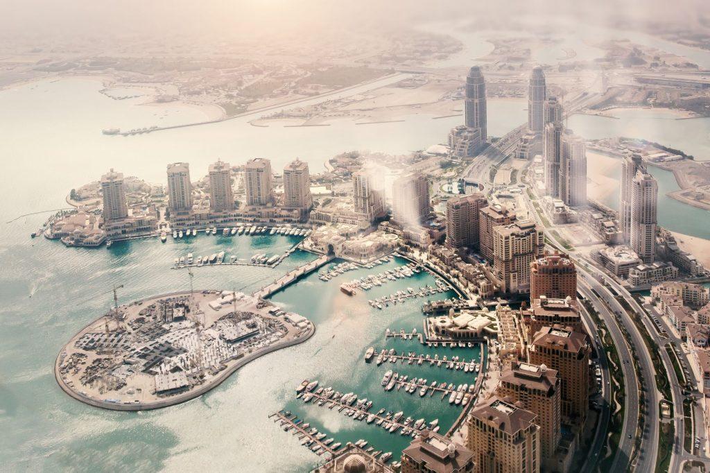 Aerial view of the Pearl-Qatar island through the fog