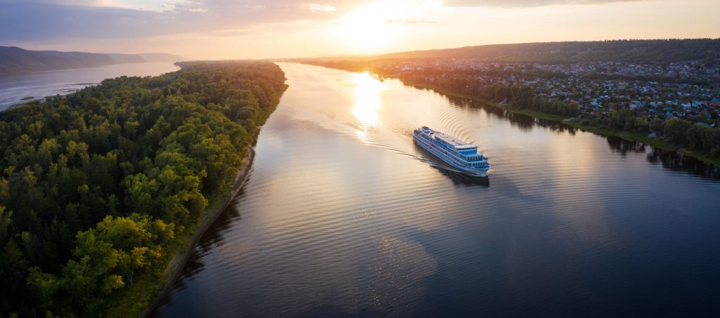 Cruise ship moving along the river of Volga towards Samara city in Russia