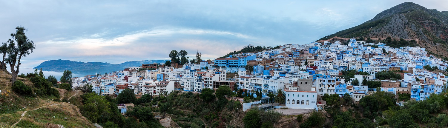 Blue city of chefchaouen in the Riff mountains