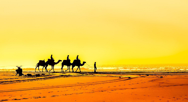 sunset at essouira beach in morocco
