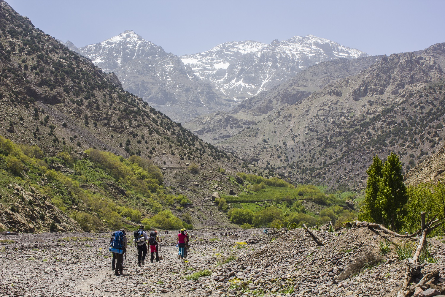 Hikers in Toubkal National Park, Morocco