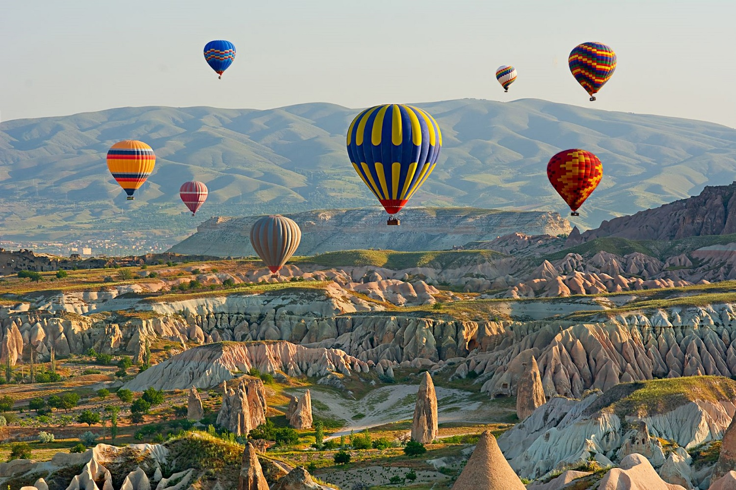 hot air balloons floating over gorme